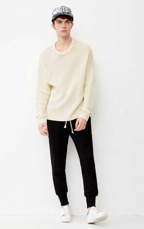 JACK JONES MEN'S PURE COLOR LOOSE FIT ROUND NECKLINE WOOL-BLEND KNITTED SWEATER | 218124503