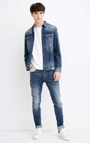 JACK JONES MEN'S DOMINIC 2.0 DENIM LONG-SLEEVED SHIRT (SLIM FIT) | 218162505