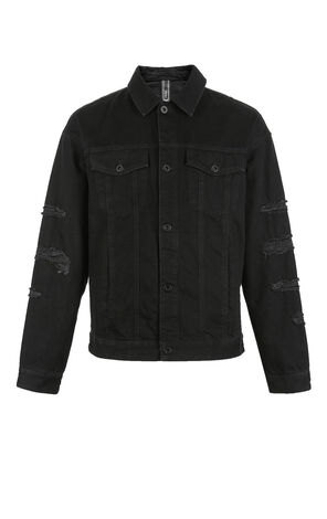 MLMR Men's Autumn 100% Cotton Ripped Lapel Black Shade Denim Jacket M|218357519