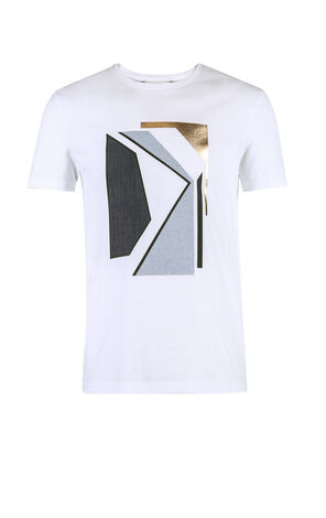 JACK JONES MEN'S SUMMER GEOMETRICAL PRINT ROUND NECKLINE SHORT-SLEEVED T-SHIRT | 218201591