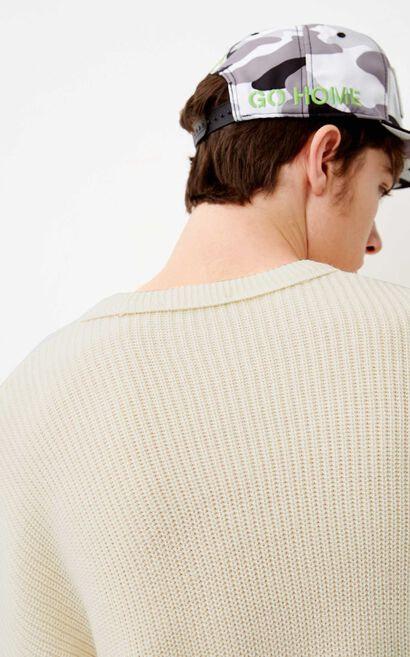 JACK JONES MEN'S PURE COLOR LOOSE FIT ROUND NECKLINE WOOL-BLEND KNITTED SWEATER | 218124503, White, large