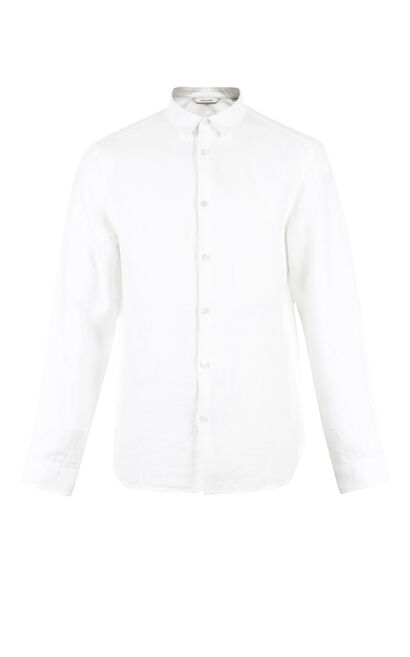 JackJones Men's Spring Regular Fit Linen Turn-down Collar Long-sleeved Shirt|217105552, White, large