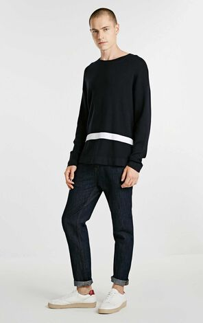 JackJones Men's 100% Cotton Contrasting Colored Blocks Round Neckline Long-sleeved Knitted Tops E|218324508