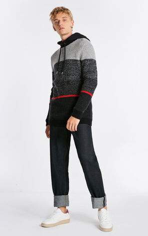 JACK JONES MEN'S WINTER SPLICED KNIT HOODED CONTRASTING WOOL-BLEND KNITTED SWEATER | 218425513