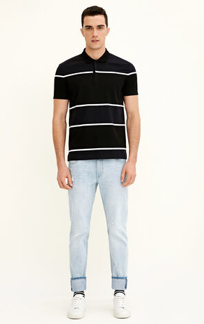 JackJones Men's Spring Stripe Print Regular Fit Short-sleeved T-shirt C|217106510