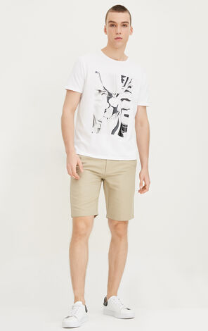 JackJones Men's Summer Straight Fit Cotton and Linen Pure Color Shorts E|217215507