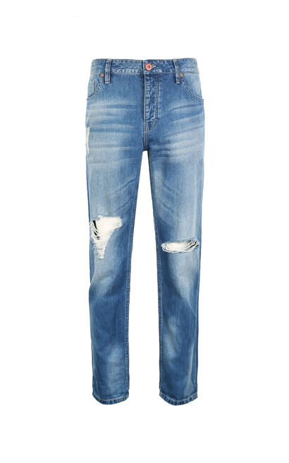JackJones Men's Summer Slim Fit Straight Cotton & Linen Ripped Jeans O|217232521, Blue, large