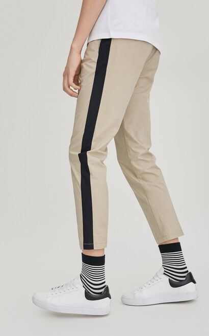 JackJones Men's Spring & Summer 100% Cotton Side Stripes Thin Crop Pants|217114551, Cinnamon, large