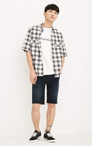 MLMR Men's Loose Fit Checked Short-sleeved Shirt |218204507