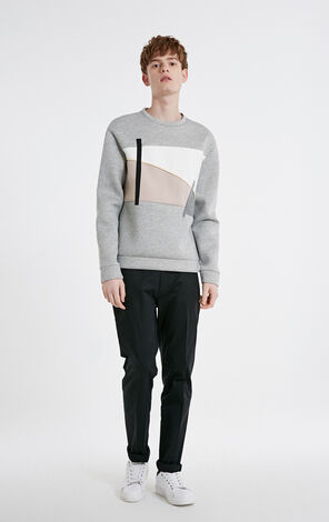 JackJones winter men's trend stitching contrast color decorative long-sleeved sweater E|219133512