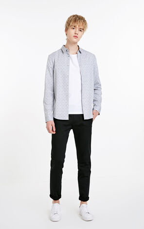 JACK JONES MEN'S 100% COTTON JACQUARD LONG-SLEEVED SHIRT | 219105578