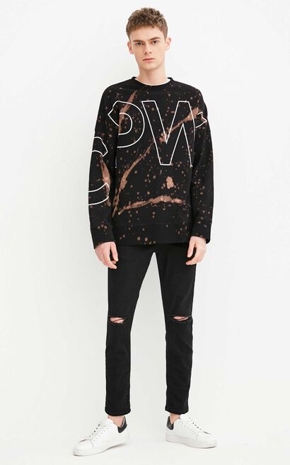 JackJones Men's Splash-ink Letter Print Long-sleeved Sweatshirt C|218133531, Black, large
