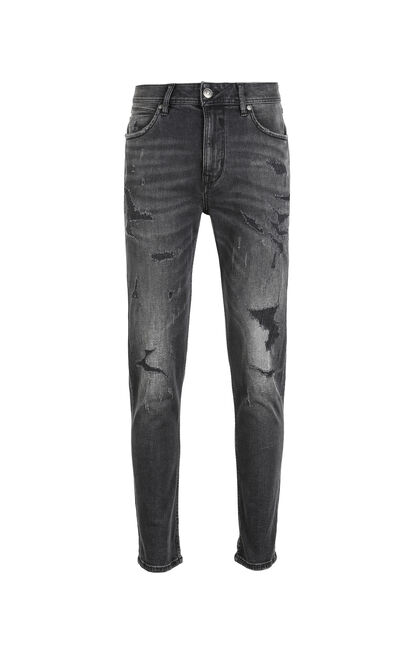 JackJones Men's Winter & Autumn Black Grey Ripped Skinny Jeans J|218332553, Black, large