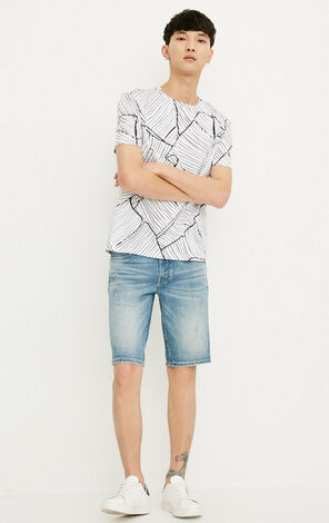 JackJones Men's Slim Fit Cotton Casual Denim Shorts J|218243522