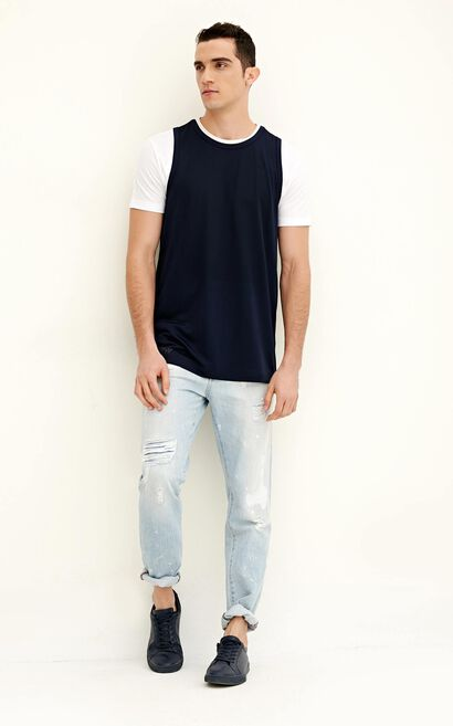 JACK JONES MEN'S SPRING MESH VEST T-SHIRT | 217101573, Blue, large