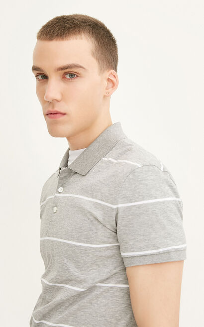 JACK JONES MEN'S SUMMER 100% COTTON STRIPED TURN-DOWN COLLAR SHORT-SLEEVED T-SHIRT | 217206512, Light Grey, large