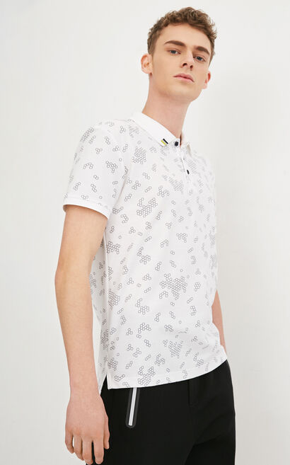 JackJones Men's Spring 100% Cotton Geometrical Print Short-sleeved T-shirt|217106512, White, large
