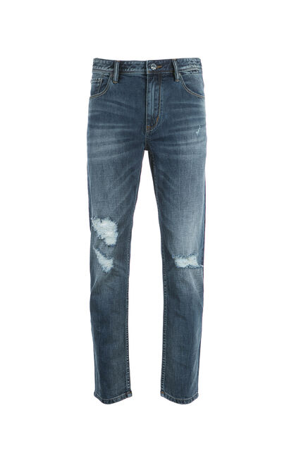 JackJones Men's Summer Cotton & Linen Slim Fit Washed Ripped Jeans S|217232518, Blue, large