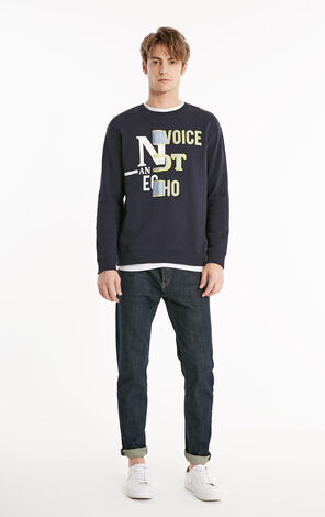 JackJones Men's Embroidered Print Letter Round Neckline Long-sleeved Pullover Sweatshirt E|219133529