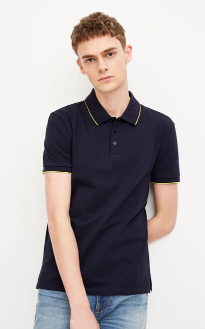 JACK JONES MEN'S WEB SOLID SHORT-SLEEVED POLO SHIRT (SLIM FIT) | 218106501, Dark blue, large
