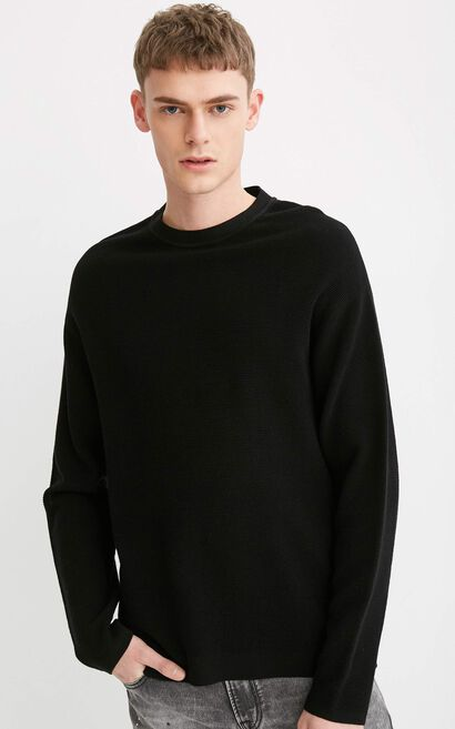JACK JONES MEN'S COTTON PURE COLOR DROP-SHOULDER SLEEVES LOOSE FIT KNITTED SWEATER | 218124520, Black, large