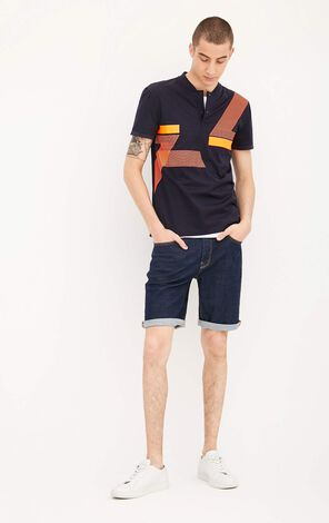 JackJones Men's Summer 100% Cotton Slim Fit Henry Neckline Short-sleeved T-shrit |217206520