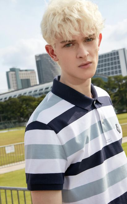 MLMR Men's Summer 100% Cotton Striped Contrasting Embroidery Patch Slim Fit Turn-down Collar Short-sleeved T-shirt M|219106506, Dark blue, large
