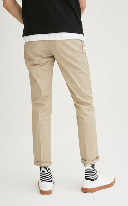 JackJones Men's Spring 100% Cotton Pure Color Straight Fit Casual Pants|217114530, Khaki, large
