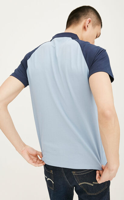 JackJones Men's Spring Slim Fit Embroidered Turn-down Collar Short-sleeved T-shirt| 217106522, Blue, large