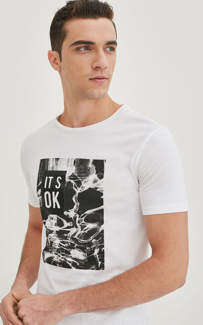 JackJones Men's Spring 100% Cotton Abstract Pattern Round Neckline T-shirt|217101509, White, large