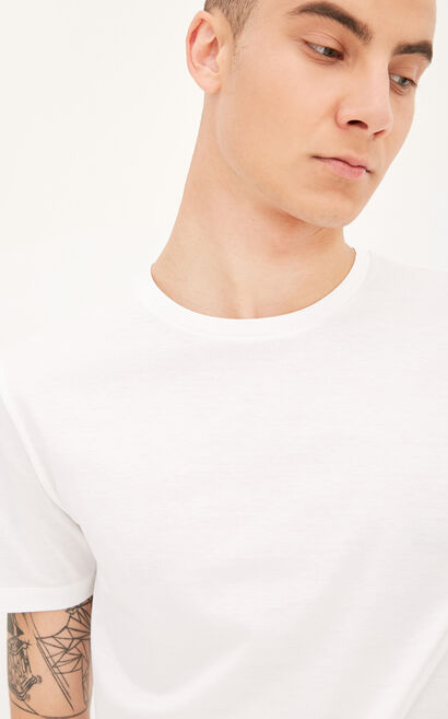 JackJones Men's Summer Pure Color 100% Mercerized Cotton Round Neckline Short-sleeved T-shirt E|217201569, White, large