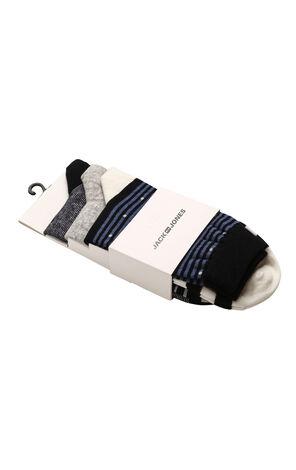 JackJones Men's Cotton Stretch Three-pack Striped Mid-Calf Socks E|Q21911Q515
