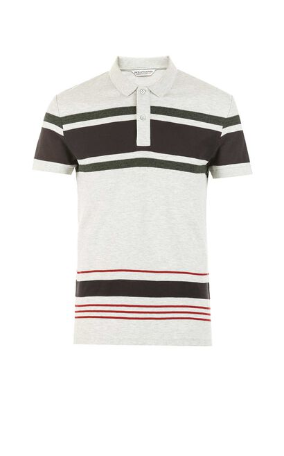 JackJones Men's Spring Slim Fit Contrasting Stripe Turn-down Collar Short-sleeved T-shirt|217106511, Light Grey, large
