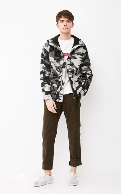 JackJones Men's Loose Fit 100% Cotton Hooded Camouflage Jacket M|218109503, Apricot, large
