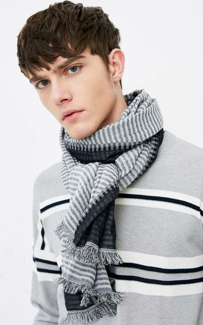 JackJones Men's 100% Cotton Striped Raw-edge Long Scarf E|218188503, Light Grey, large
