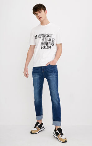 MLMR Men's 100% Cotton Round Neckline Printed Letters Contrasting Short-sleeved T-shirt 218201523