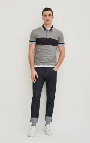 JackJones Men's Spring 100% Cotton Stripe Pattern Slim Fit Turn-down Collar T-shirt|217106506