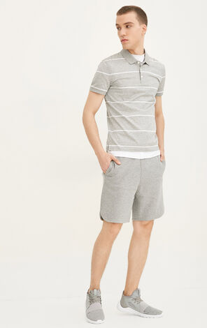JackJones Men's Summer 100% Cotton Striped Turn-down Collar Short-sleeved T-shirt E|217206512