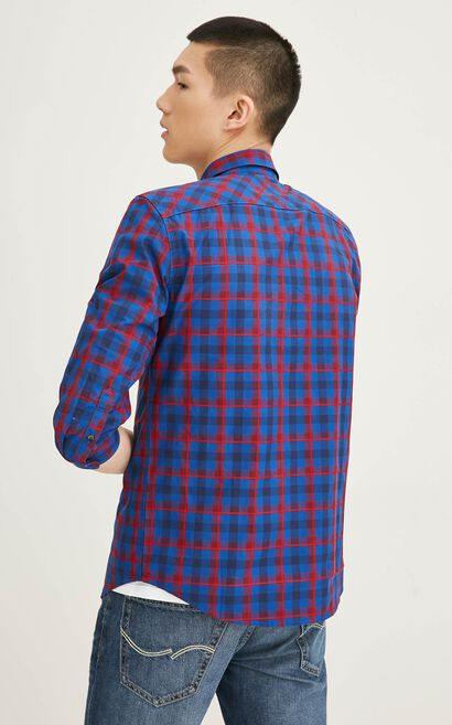 JackJones Men's Spring Slim Fit 100% Cotton Plaid 3/4 Sleeves Shirt| 217131509, Blue, large