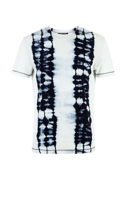 JackJones Men's Spring 100% Cotton Slim Fit Tie-dyed Round Neckline Short-sleeved T-shirt| 217101572, White, large