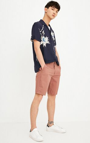 JACK JONES MEN'S LIGHT-WEIGHT PRINTED TURN-DOWN COLLAR SHORT-SLEEVED T-SHIRT | 218204527