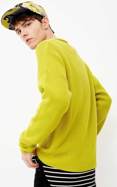 JACK JONES MEN'S PURE COLOR LOOSE FIT ROUND NECKLINE WOOL-BLEND KNITTED SWEATER   218124503, Green, large