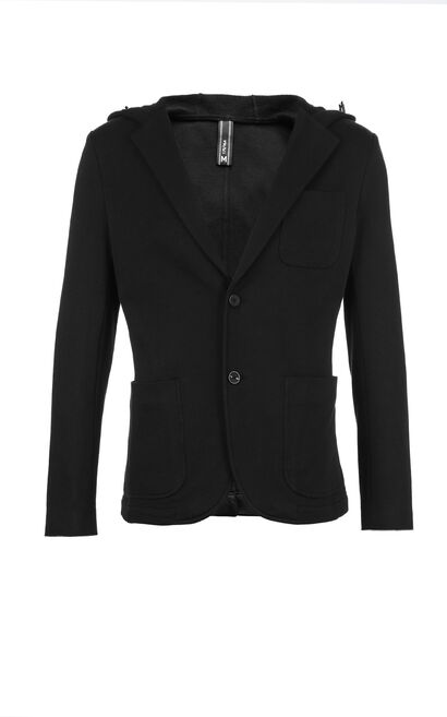 M SLAM HOODIE BLAZER(KNITTED SLIM FIT), Black, large