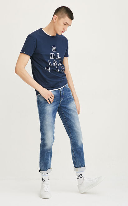 JackJones Men's Spring 100% Cotton Slim Fit Painting Dots Jeans O|217132533, Blue, large