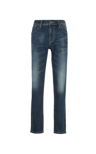 JackJones Elastic cotton whiskering fading denim pants JO|217432513, Blue, large