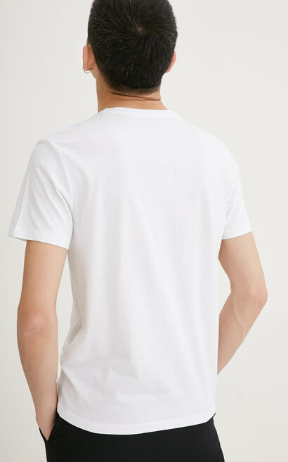 JackJones Men's Spring 100% Cotton Regular Fit Geometrical Print Round Neckline Short-sleeved T-shirt |217101534, White, large