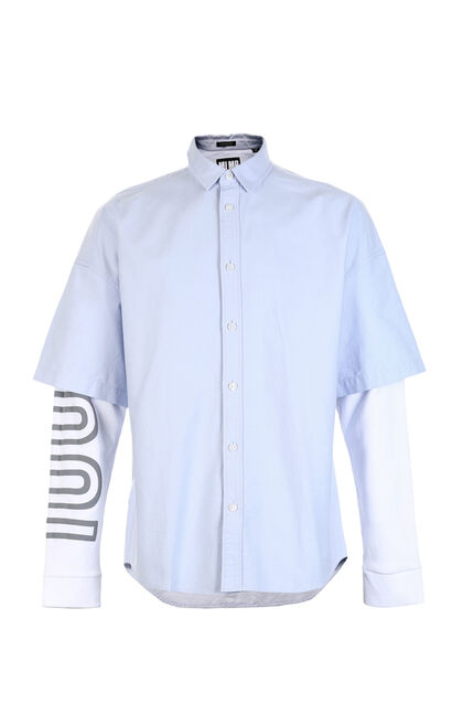 M KU SHIRT L/S(OVERSIZE FIT), Blue, large