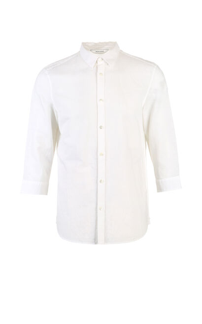 JackJones Men's Spring & Summer Cotton and Linen Colored Turn-down Collar 3/4 Sleeves Shirt E|217231511, White, large
