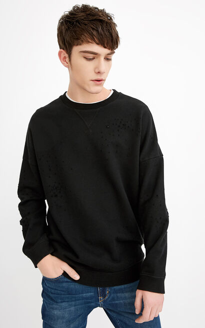 JackJones Men's Rips Long-sleeved Round Neckline Sweatshirt C|218133530, Black, large