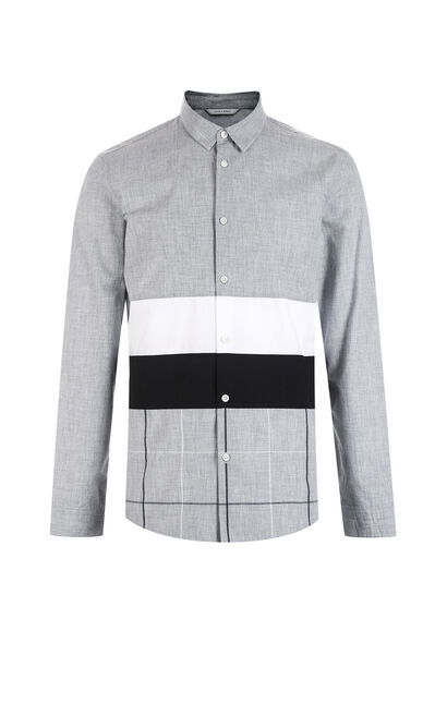 JackJones Men's Autumn 100% Cotton Stripe Checked Square-cut Collar Long-sleeved Shirt|217305550, Grey, large